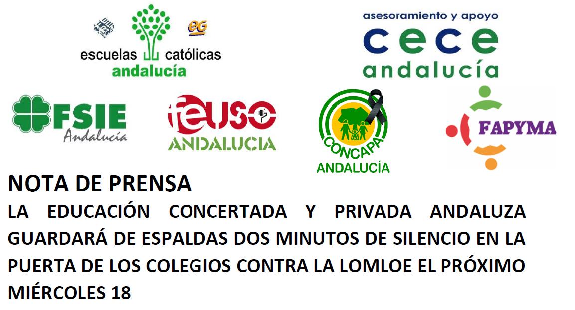 La educación concertada y privada andaluza guardará de espaldas dos minutos de silencio en la puerta de los colegios contra la LOMLOE el próximo miércoles 18