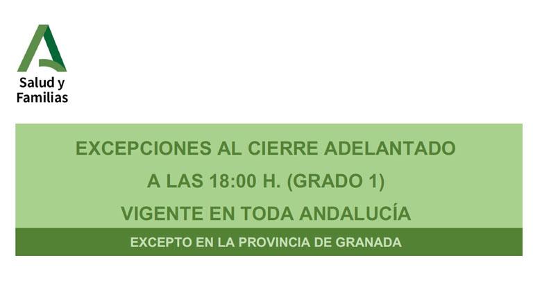 Lee más sobre el artículo Excepciones al cierre adelantado a las 18:00 h. (Grado 1) vigente en toda Andalucía excepto en la provincia de Granada
