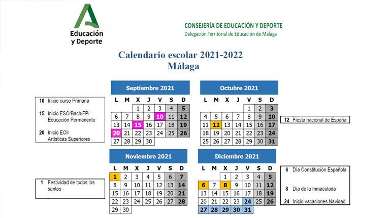 Lee más sobre el artículo Ya conocemos el Calendario Escolar del próximo Curso 2021/2022 en Málaga